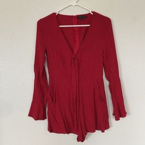 Kendall and Kylie Red Long Sleeve Romper Small